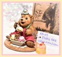 ❤️Wee Forest Folk BB-07 Party Time Birthday Bear Ice Cream Red Pants WFF Box❤️