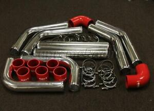 """3"""" 8PC CHROME RED ALUMINUM INTERCOOLER PIPING / SILICONE COUPLERS KIT UNIVERSAL"""