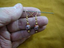 ee614-100 9x12mm Red purple pink flower CLOISONNE bead gold oval dangle EARRINGS
