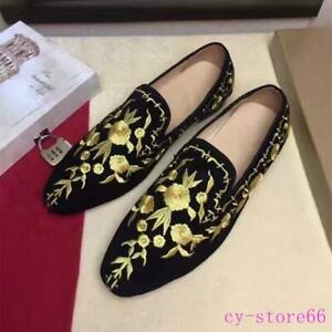 Mens Casual Gold Embroidered Flower Loafers Poiny Toe Hairstylist Suede Shoes SZ