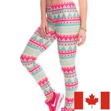 candy triangles soft leggings - S-M One size-  teal pink cream geometric bright