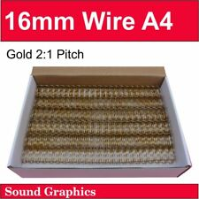 """16mm 5/8"""" (125 sheets) TWIN LOOP BINDING WIRE 2:1 Pitch 23 Loop Box of 50 - Gold"""