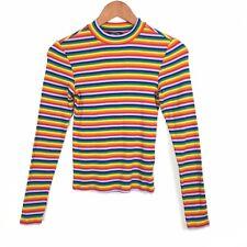 Monki Rainbow Multicoloured Striped Long Sleeve Crew Neck Top XS 6/8 UK