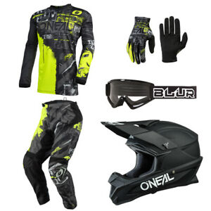 O'Neal Element Ride Neon motocross dirt bike gear Jersey Pants Gloves Helmet set
