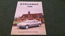 Marzo de 1988 Peugeot Coche Range 24pg Reino Unido Folleto 205 GTI 305 Estate 309 405 505 V6