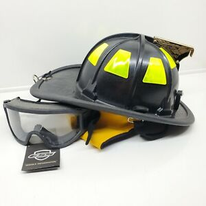 New 880 Cairns Emergency Fire Fireman Helmet black 5 5/8-7 5/8 with goggles 550
