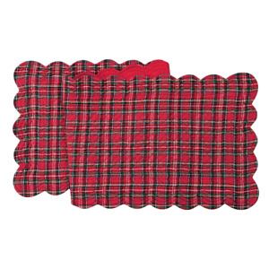 """Tartan Plaid Christmas Quilted Reversible 51"""" C&F Table Runner Red Green Black"""