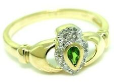 Claddagh Diopside + Diamond 9ct Solid Gold Celtic Ring, SZ N/7, 30 Day Refunds