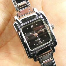 Square Black Stainless Steel Italian Charms Bracelet Quartz Wrist Watch BB04