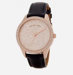 new $275 MICHAEL KORS womens Watch MK2649 PAVE GLAM GLITZ black leather bracelet