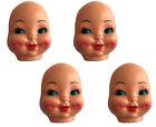 "Lot of 4 VTG 4"" Dimple Blue Eyed Celluloid Plastic Craft Doll Making Faces Masks"
