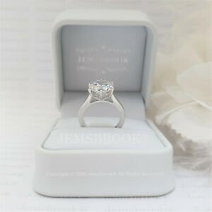 4CT Classic Solitaire Diamond Engagement Ring Sterling Silver Platinum Finish