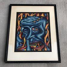 Vintage Surrealism Modern Art Signed Men Figure Framed 20th Century Blue Colored