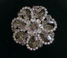 "vintage Weiss gray smoky & clear prong-set rhinestone 2.5"" silver tone brooch"