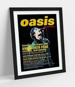 OASIS KNEBWORTH POSTER -ART FRAMED POSTER PICTURE PRINT ARTWORK- YELLOW RED