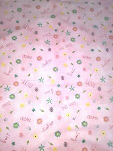 "Uplifting Pink Floral Cotton Spring Fabric~Happy Create Joy Sing~1/2 Yard 18x44"""