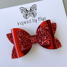 Hair Clip Girls Bow Hair Accessories Large Faux Leather Glitter Baby Headband