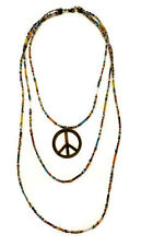 Vintage Hippie Boho Multi Layer Layered Seed Bead Gold Plated Peace Necklace