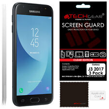 3 Pack TECHGEAR CLEAR Screen Protector Guards For Samsung Galaxy J3 2017 SM-J330