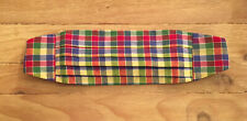 Vintage Mens Preppy Madras Plaid Cummerbund Multicolor Cotton
