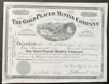 GOLD PLACER MINING COMPANY Stock 1881. Colorado Hydraulic Gold Mining. VIG  VF++