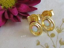 Damen Opal Ohrstecker 925 Sterling Silber Gold Vergoldet Ohrringe 9x6mm Weiß