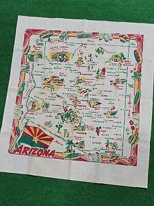Vintage 1950s Arizona Map Souvenir Tablecloth Wall Tapestry AZ 35x39 Southwest