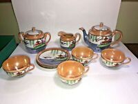 Vintage Set of Peach Purple Lusterware Tea Pot Birds Teacup Saucer Made in Japan