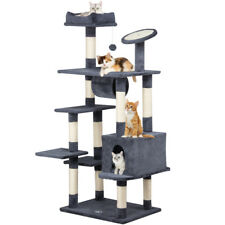 Large Cat Trees Pet Activity Center Tree With Scratching Post Pad & Tunnel Grey
