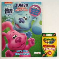 New 2pc Set Blues Clues And You! Jumbo Coloring & Activity Book and Crayons Kids