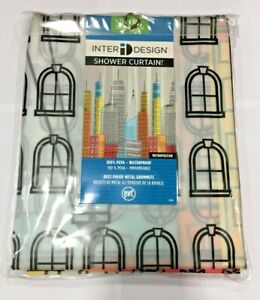 "InterDesign 43220 72"" H x 72"" W Multicolored Metropolitan Shower Curtain PEVA"