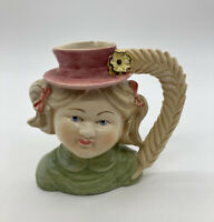 Antique Girl Head Face Vase Planter Red Hat Headvase