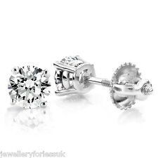 18Carat White Gold Diamond Solitaire Ear Studs 4-Claw 0.30 carats FG-SI