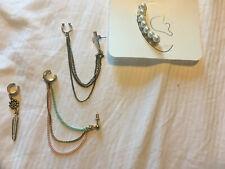 Set Of 4 Ear Cuffs Earcuff And Earring Pearl Effect Cross Pastel Multi