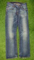 Nudie Jeans Co W31 L34 Blue Denim Jeans Straight Leg Faded Distressed