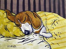 BEAGLE sleeping dog prints  by artist 11x14 animals gift new impressionism