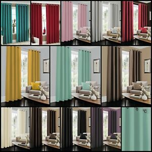 Luxury Fully Lined Ready Made Faux Silk Eyelet Curtains Ring Top with Tie Backs