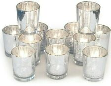 Volens Silver Votive Candle Holders, Mercury Glass. Set of 12. Open Box Checked