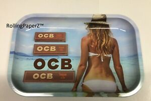 3x PACKS of OCB VIRGIN Rolling Papers PLUS 11X7 Metal BIKINI BEACH ROLLING TRAY