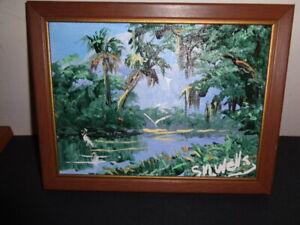 Rare Sylvester M. Wells (1938-) Original Florida Highwaymen Everglades Painting