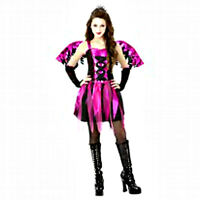 New in Pkg! Feisty Fairy Girl's Pink & Black 5 Piece Child Costume Sz XL (14-16)