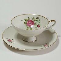 Alka-Kunst Alboth & Kaiser Bavaria Moosrose Pattern Pink Rose Tea Cup&Saucer Set