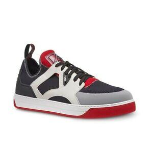 $690 FENDI BLACK RED GRAY NYLON LEATHER LOGO 7E1205 SNEAKERS UK 11 / US 12 ITALY