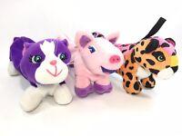 Lisa Frank Rainbow Plush Pencil Bag Pig, Cat, Cheetah Lot Of 3