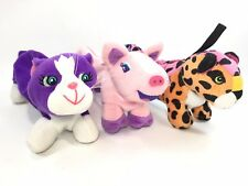 Lisa Frank Rainbow Plush Pencil Bag Pig, Cat, Cheetah Lot Of 3