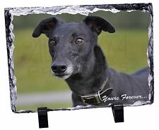 Black Greyhound 'Yours Forever' Photo Slate Christmas Gift Ornament, AD-GH8ySL