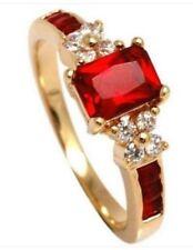 Anelli di lusso con gemme tondi fidanzamento rubino
