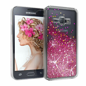 For Samsung Galaxy J1 (2016) Glitter cover Liquid Silicone Skin Case Phone Pink
