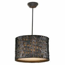Aged Black Woven Metal Drum Pendant Lighting Fixture by Uttermost 21104