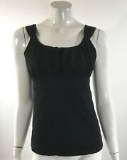 Ann Taylor Womens Tank Top Sz Small Solid Black Shirred Bodice Sleeveless Shirt